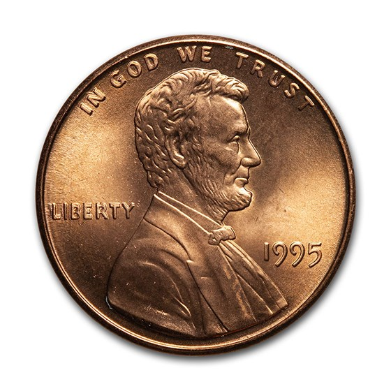 1995 Lincoln Cent Doubled Die Obverse BU (Red)