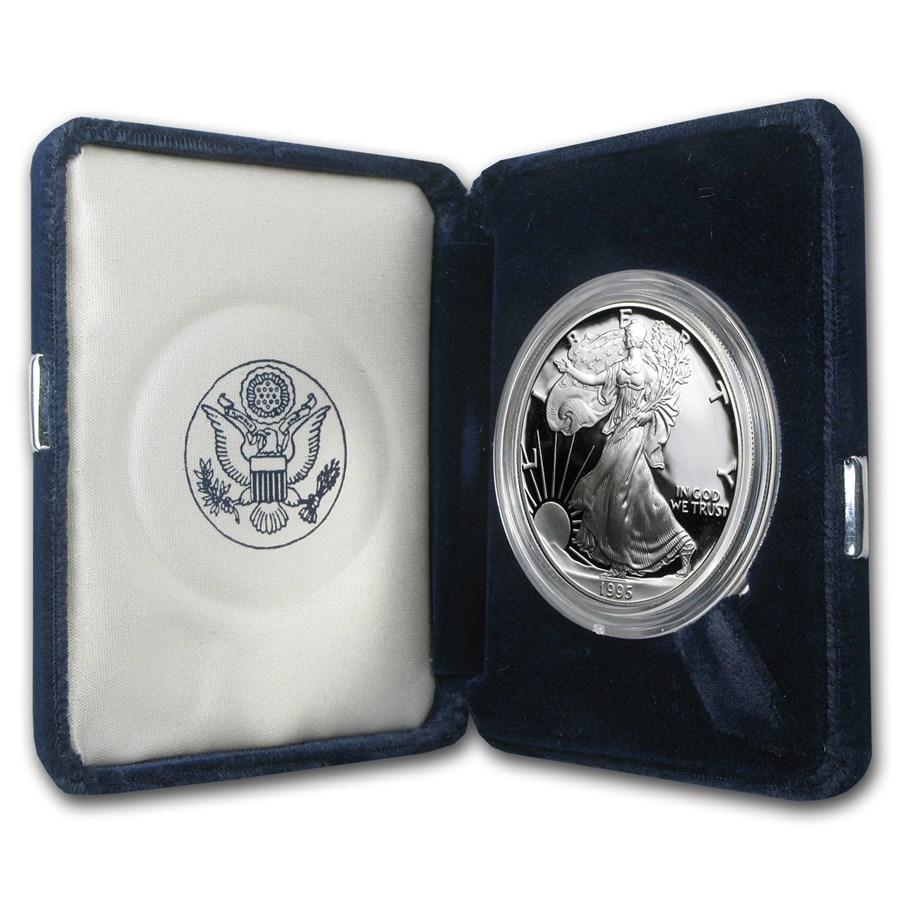 1995-P 1 oz Proof American Silver Eagle (w/Box & COA)
