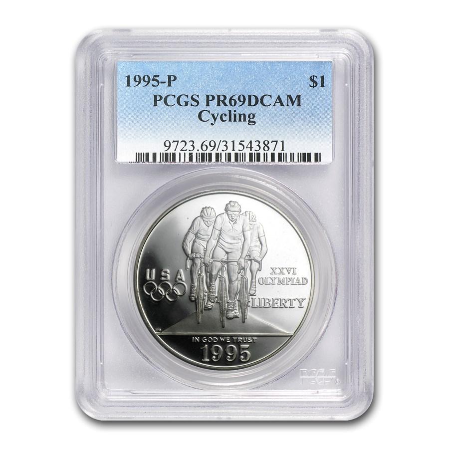 1995-P Olympic Cycling $1 Silver Commem PR-69 PCGS