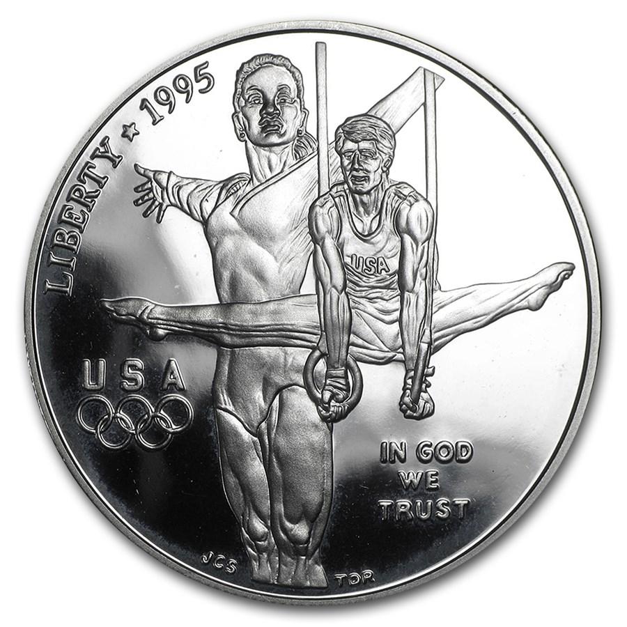 1995-P Olympic Gymnast $1 Silver Commem Proof (w/Box & COA)