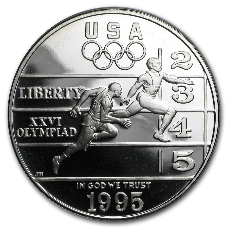 1995-P Olympic Track and Field $1 Silver Commem Pf (Capsule Only)