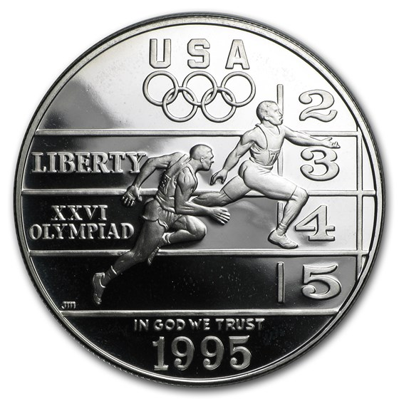 1995-P Olympic Track and Field $1 Silver Commem Proof (Box & COA)