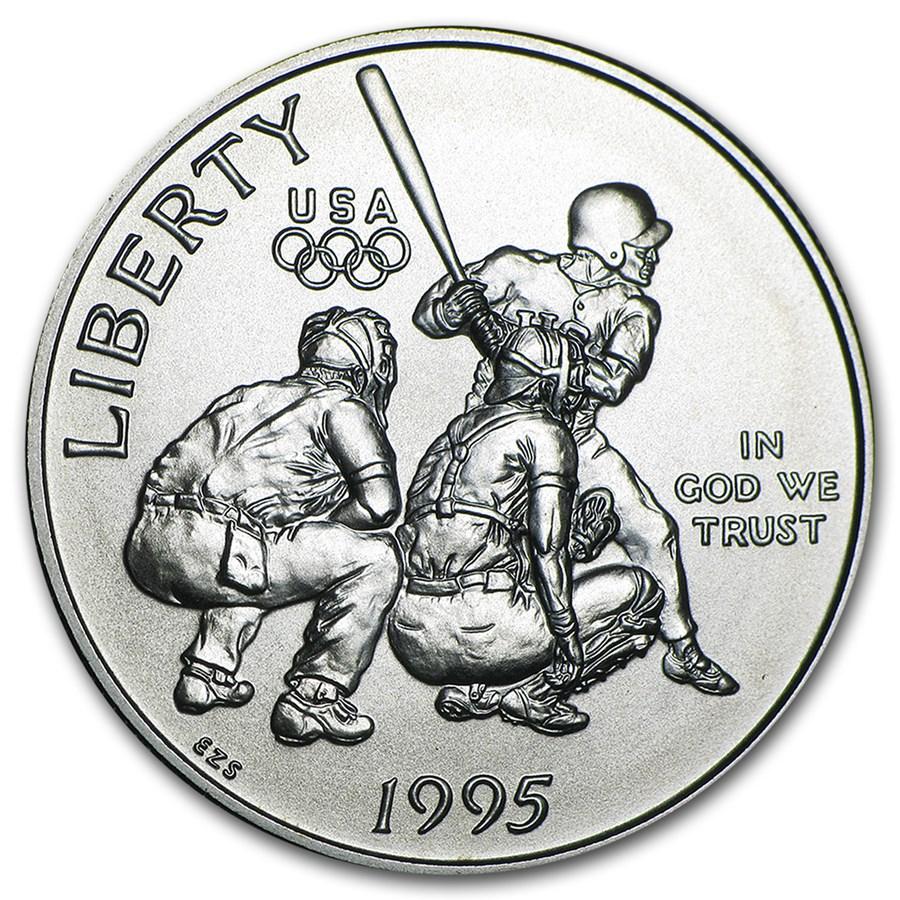 1995-S Olympic Baseball 1/2 Dollar Clad Commem BU (Capsule only)
