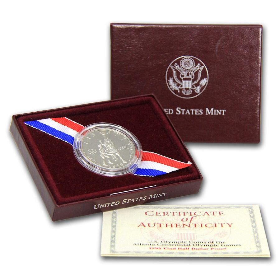 1995-S Olympic Basketball 1/2 Dollar Clad Commem Prf (Box & COA)
