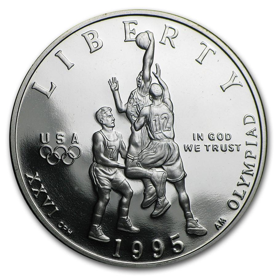 1995-S Olympic Basketball 1/2 Dollar Clad Commem Proof (Capsule)