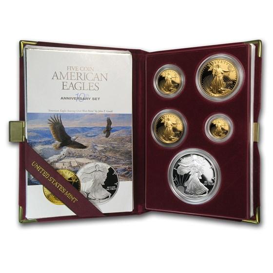 1995-W 5-Coin Proof American Eagle Set (10 Anniv, Box & COA)
