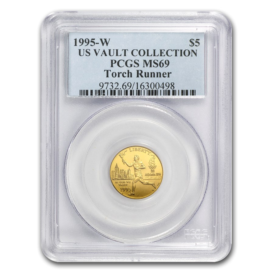 1995-W Gold $5 Commem Olympic Torch Runner MS-69 PCGS