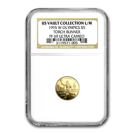 1995-W Gold $5 Commem Olympic Torch Runner PF-69 NGC