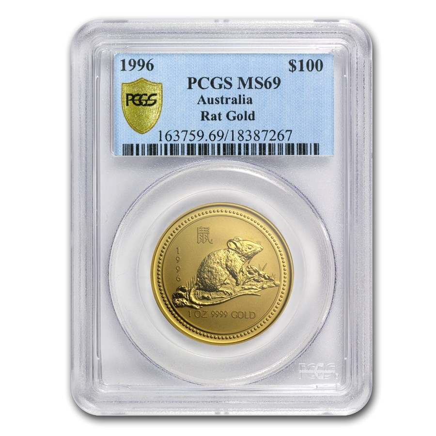 1996 1 oz Gold Lunar Year of the Rat MS-69 PCGS (Series I)