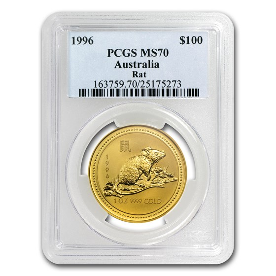 1996 1 oz Gold Lunar Year of the Rat MS-70 PCGS (Series I)
