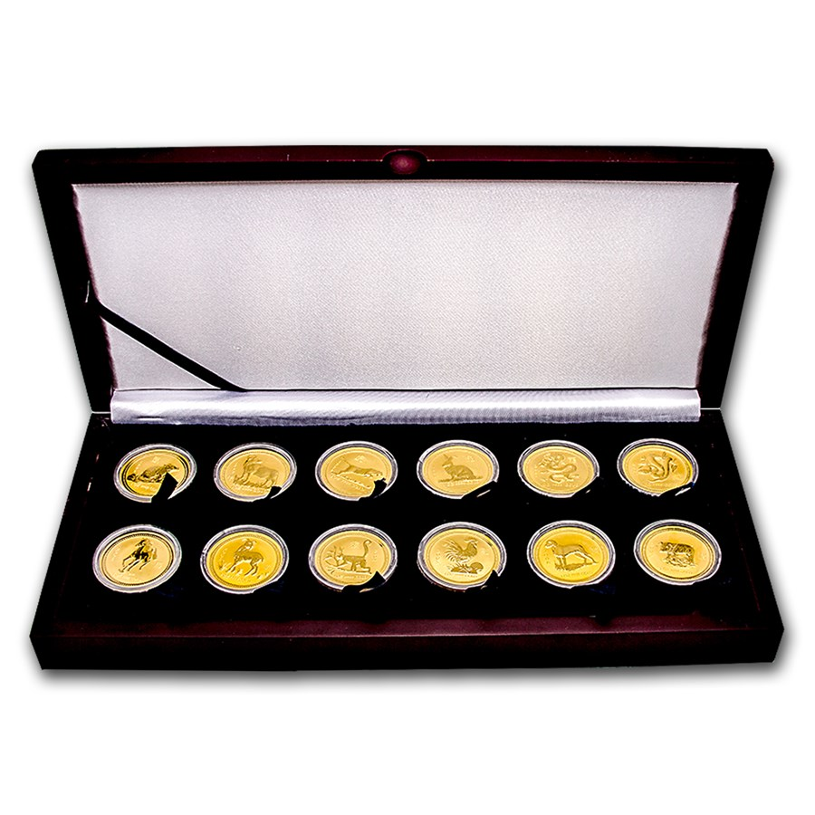 1996-2007 Australia 12-Coin 1 oz Gold Lunar Set BU (Abrasions)