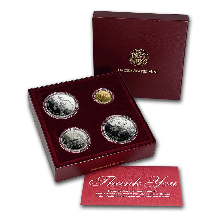 1996 4-Coin Commem Olympic Proof Set (Box & COA)