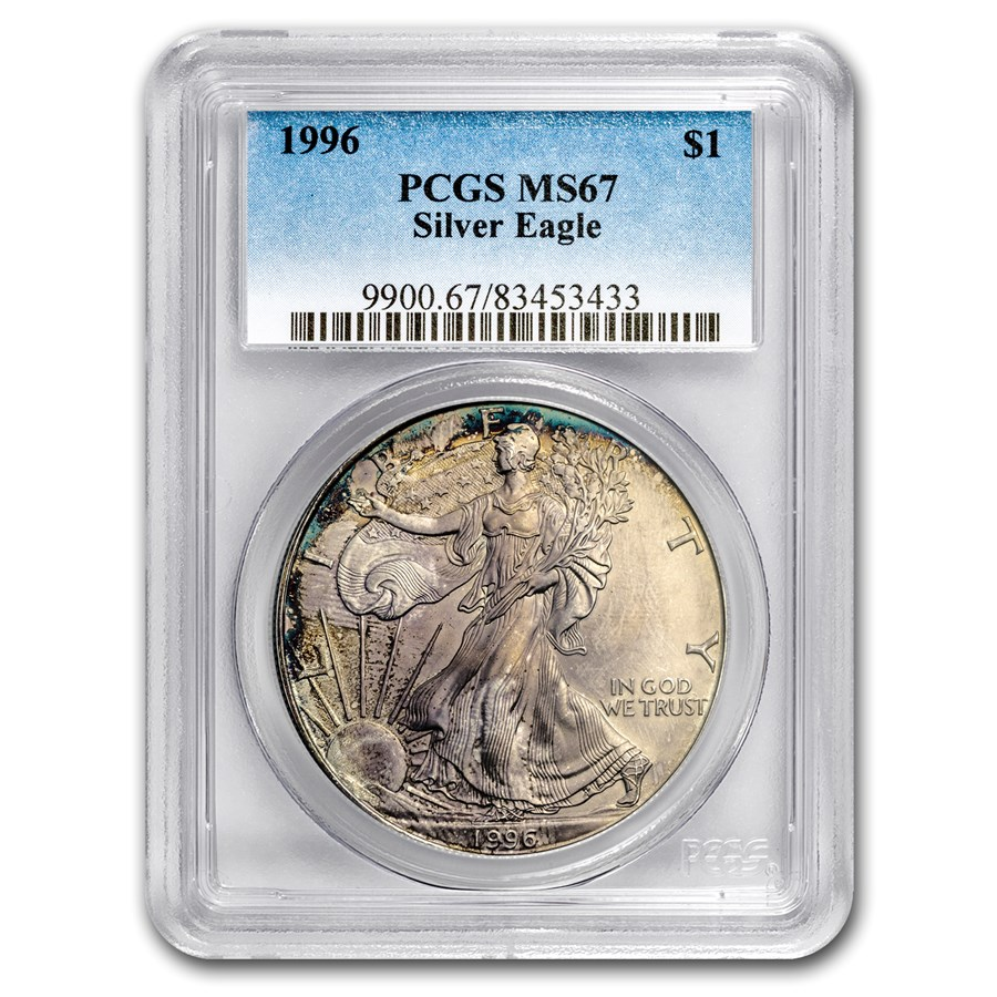1996 American Silver Eagle MS-67 PCGS (Obv & Rev Toning)