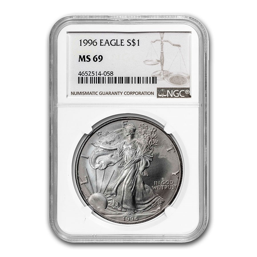 1996 American Silver Eagle MS-69 NGC (Spotted)
