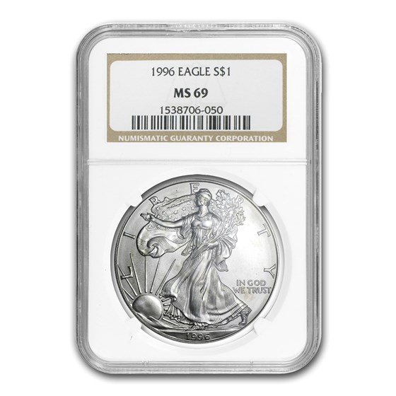 1996 American Silver Eagle MS-69 NGC