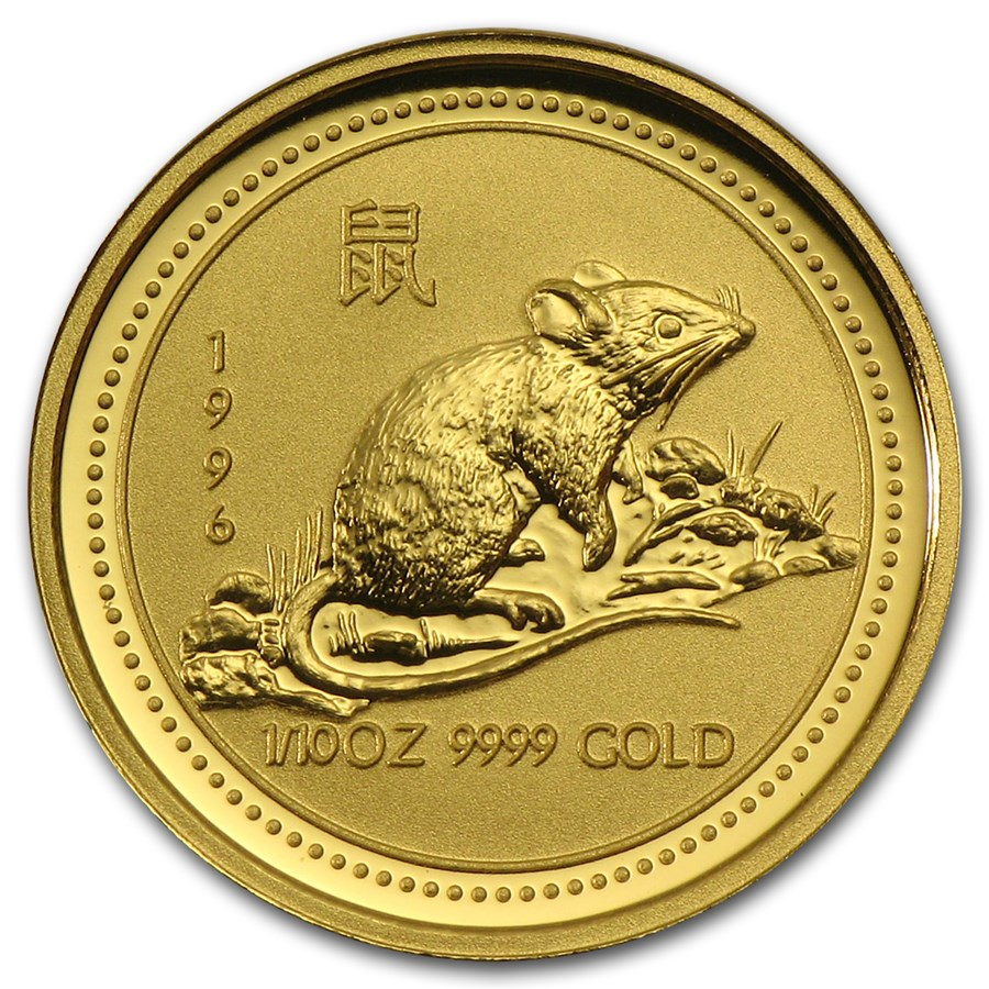 1996 Australia 1/10 oz Gold Lunar Rat (Series I)