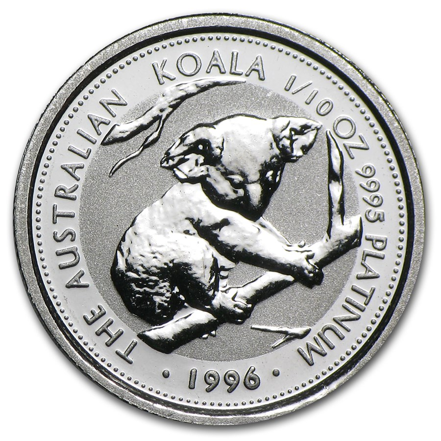 1996 Australia 1/10 oz Platinum Koala BU
