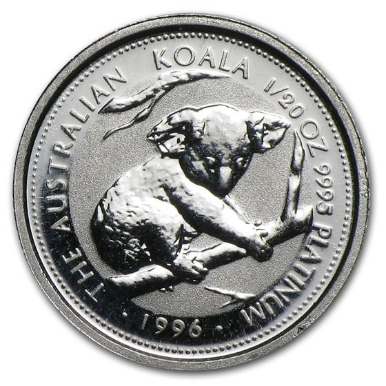 1996 Australia 1/20 oz Platinum Koala BU