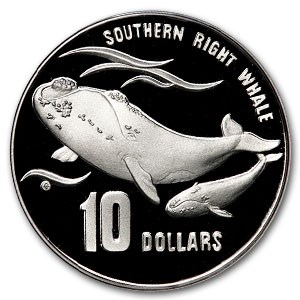 1996 Australia $10 Silver Southern Right Whale Calf Proof