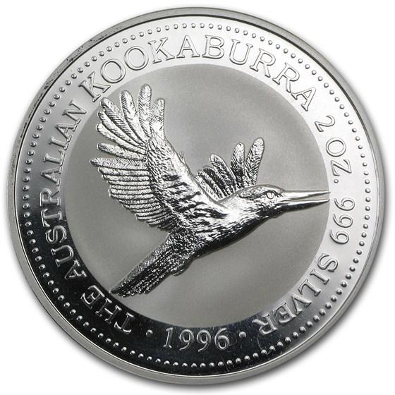 1996 Australia 2 oz Silver Kookaburra BU