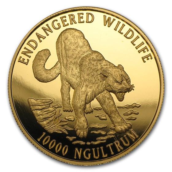 1996 Bhutan Gold 10000 Ngultrum Endangered Wildlife Proof