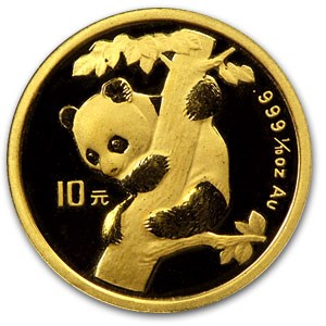 1996 China 1/10 oz Gold Panda BU (Not Sealed)