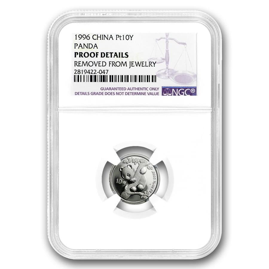 1996 China 1/10 oz Platinum Panda BU