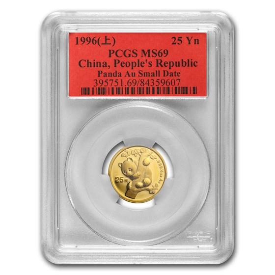 1996 China 1/4 oz Gold Panda MS-69 PCGS (Small Date)