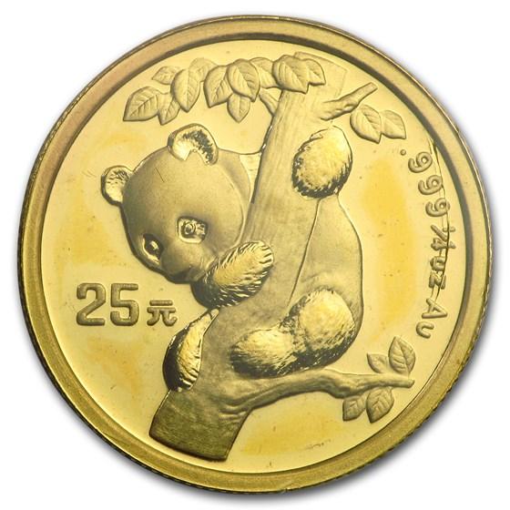 1996 China 1/4 oz Gold Panda Small Date BU (Sealed)