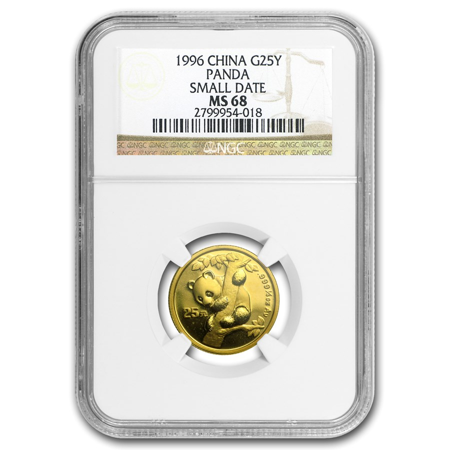 1996 China 1/4 oz Gold Panda Small Date MS-68 NGC
