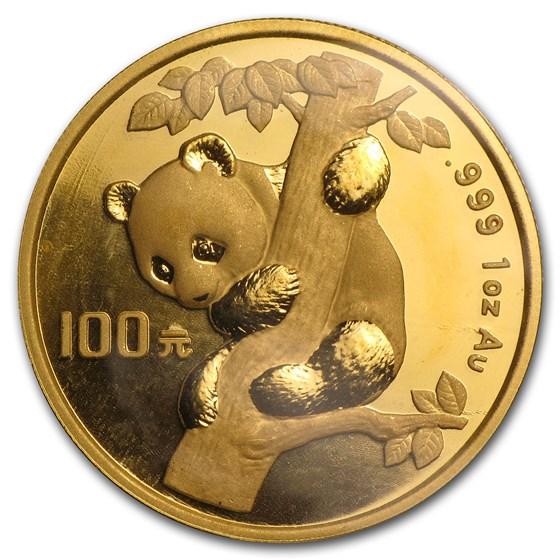 1996 China 1 oz Gold Panda Large Date BU (Sealed)