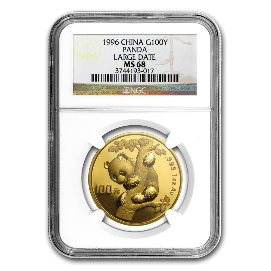1996 China 1 oz Gold Panda Large Date MS-68 NGC