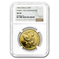 1996 China 1 oz Gold Panda MS-68 NGC (15th Anniversary)
