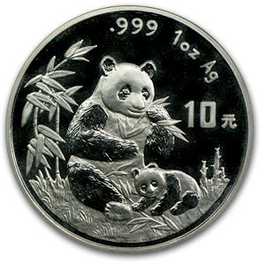 1996 China 1 oz Silver Panda Large Date BU (Capsule Only)