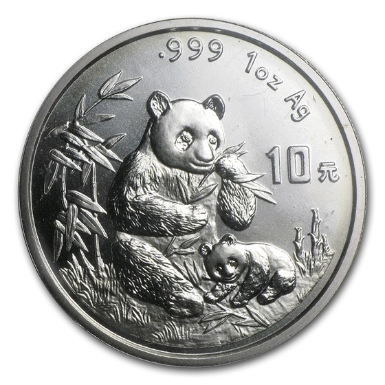 1996 China 1 oz Silver Panda Large Date BU (Sealed)