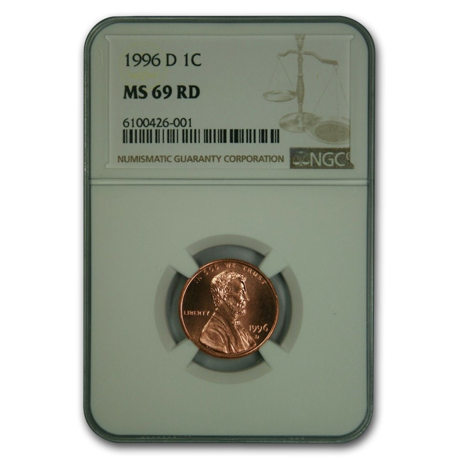 1996-D Lincoln Cent MS-69 NGC (Red)