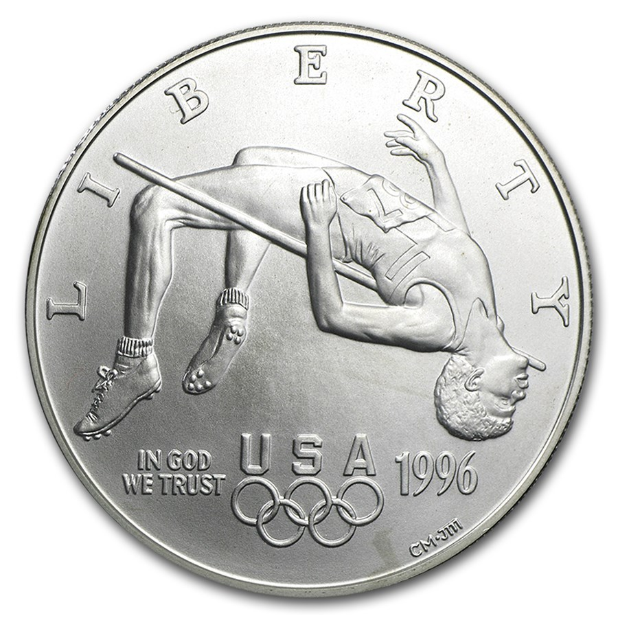 1996-D Olympic High Jump $1 Silver Commem BU (Capsule only)