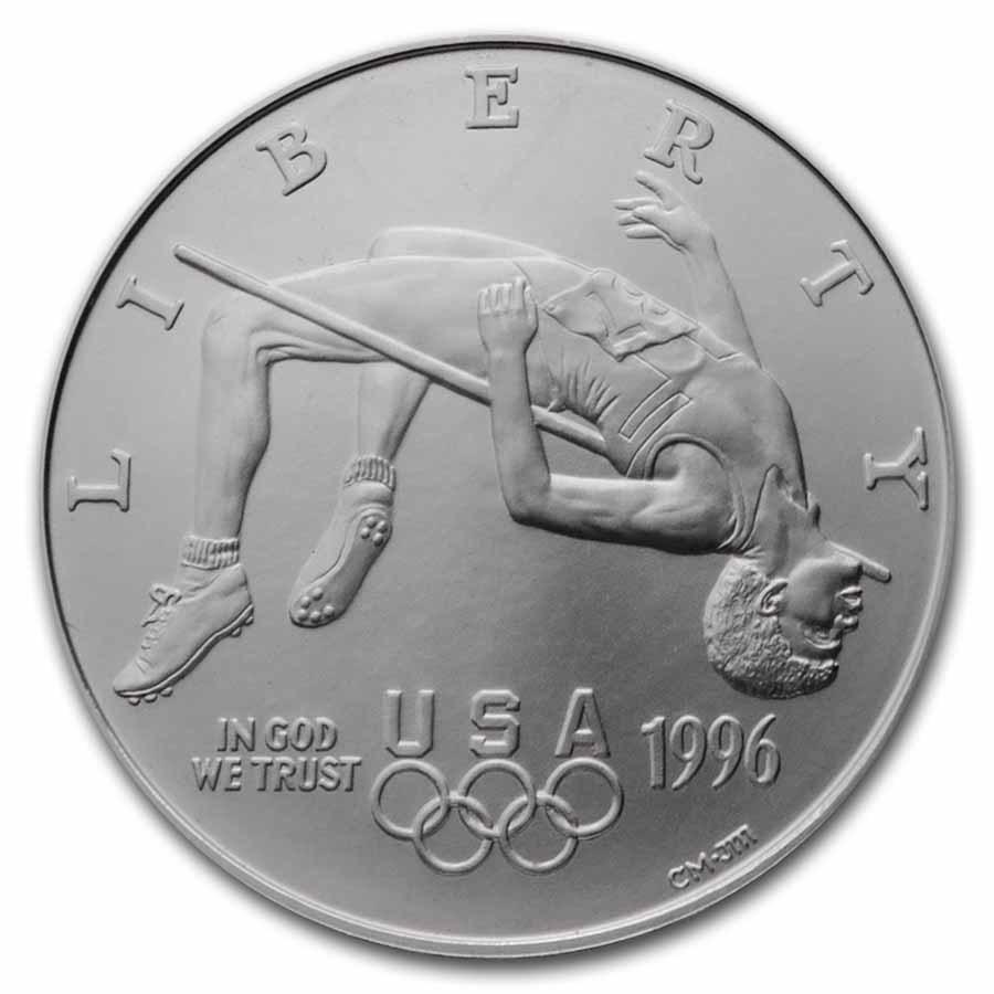 1996-D Olympic High Jump $1 Silver Commem BU (w/Box & COA)