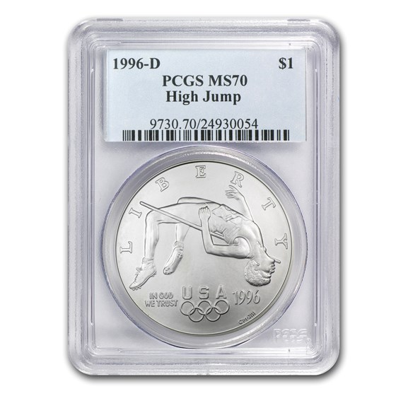 1996-D Olympic High Jump $1 Silver Commem MS-70 PCGS