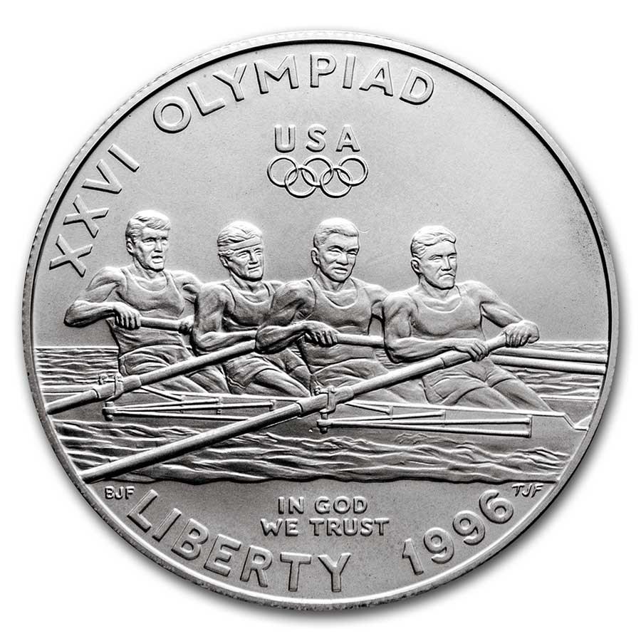 1996-D Olympic Rowing $1 Silver Commem BU (w/Box & COA)