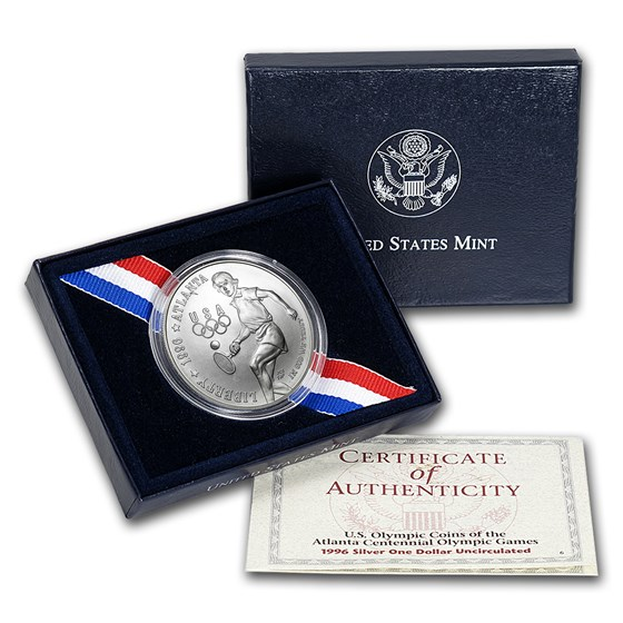 1996-D Olympic Tennis $1 Silver Commem BU (w/Box & COA)