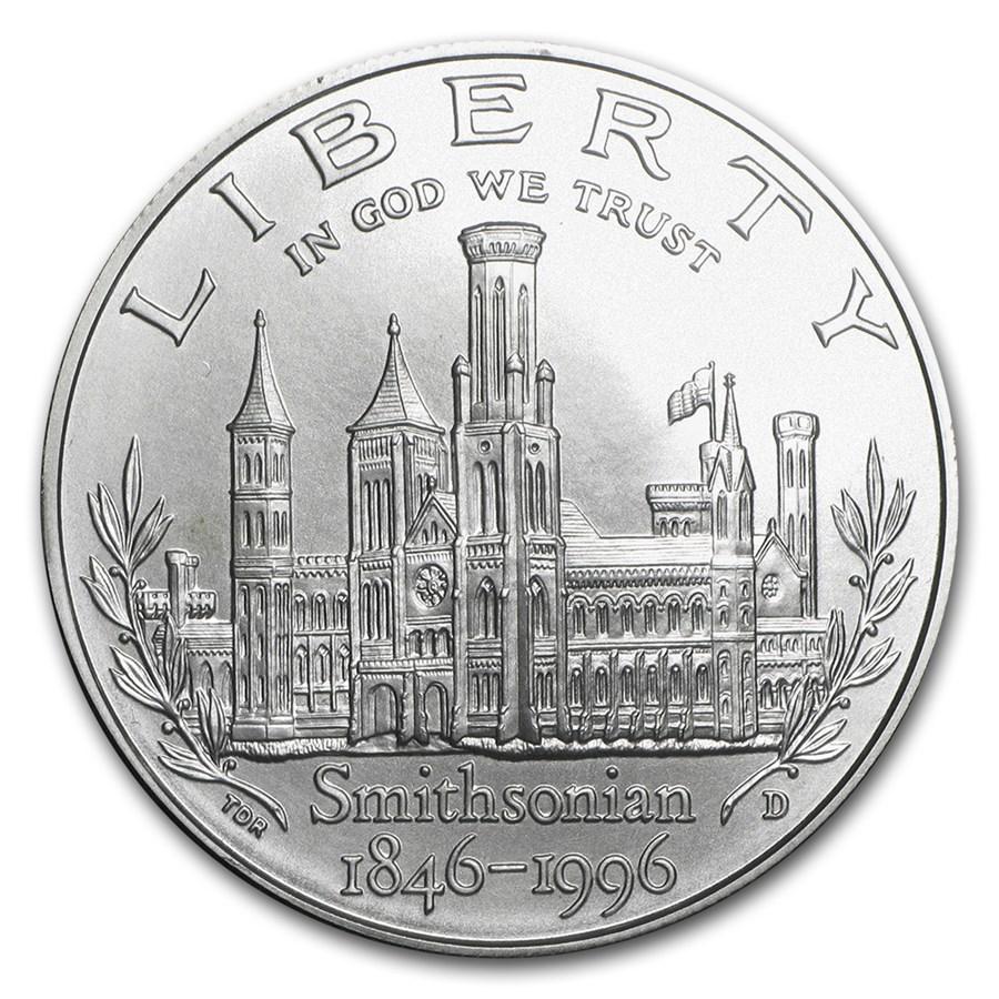 1996-D Smithsonian $1 Silver Commem BU (w/Box & COA)