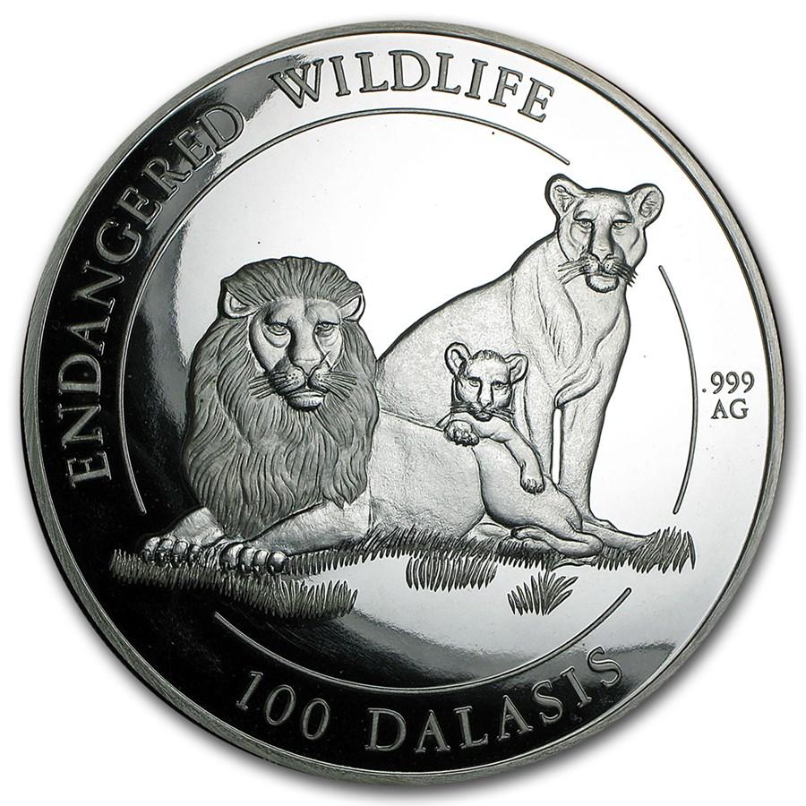 1996 Gambia 1 kilo Silver 100 Dalasis Proof