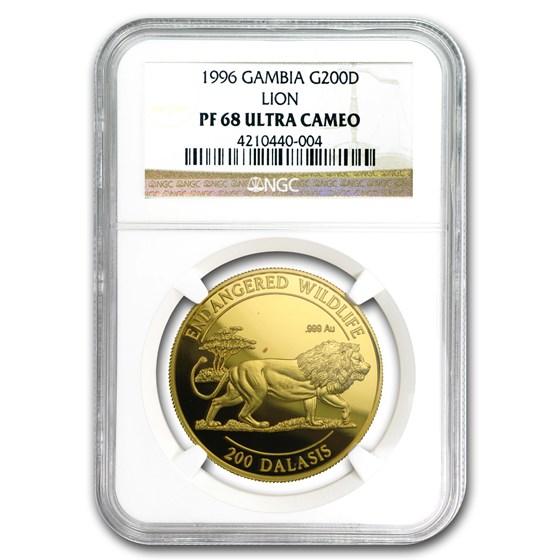 1996 Gambia Gold 200 Dalasis PF-68 NGC