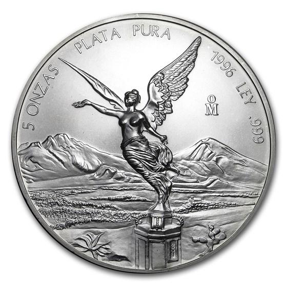 1996 Mexico 5 oz Silver Libertad BU