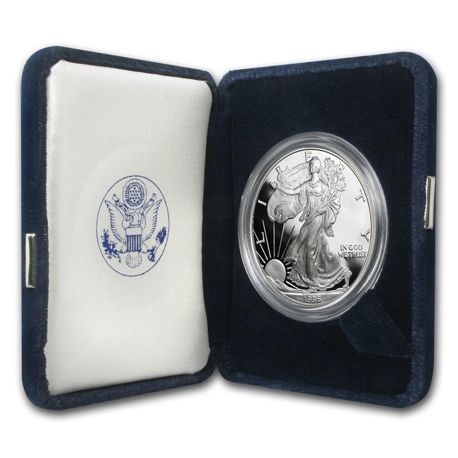 1996-P 1 oz Proof American Silver Eagle (w/Box & COA)
