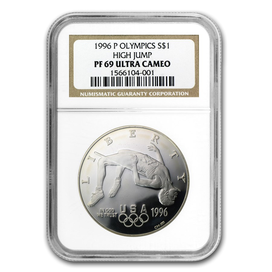 1996-P Olympic High Jump $1 Silver Commem PF-69 NGC
