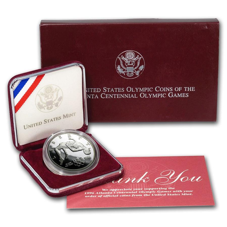 1996-P Olympic High Jump $1 Silver Commem Proof (w/Box & COA)