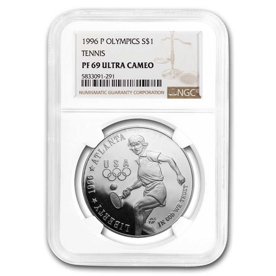 1996-P Olympic Tennis $1 Silver Commem PF-69 NGC