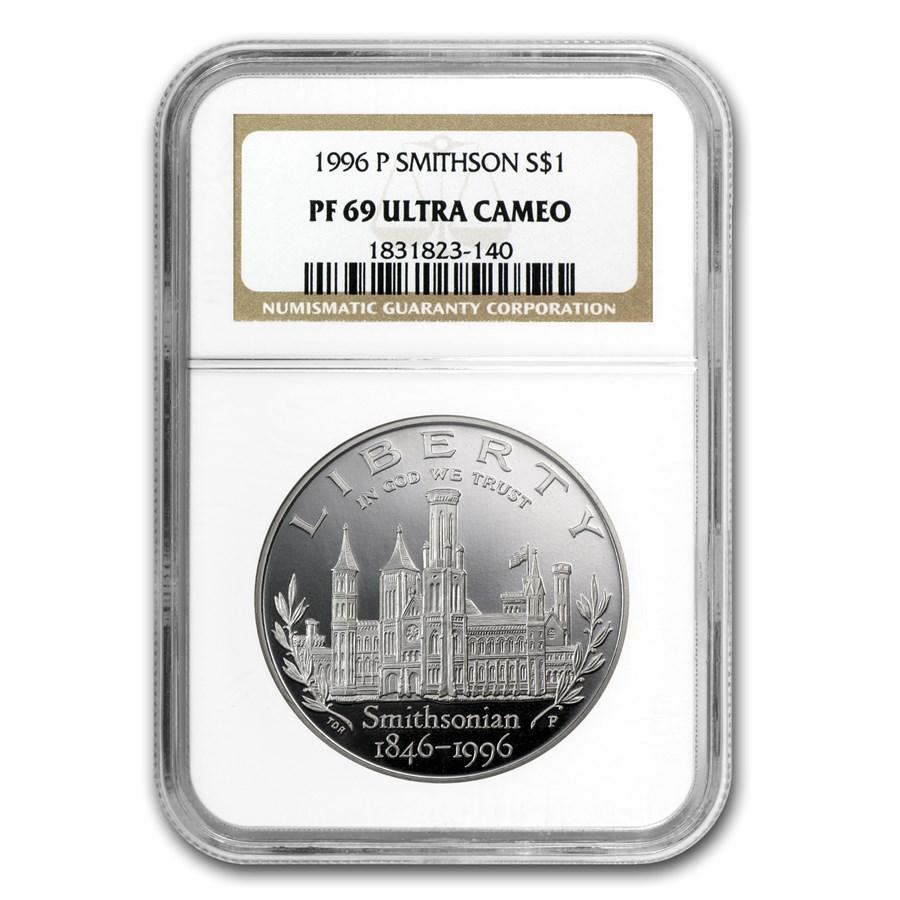1996-P Smithsonian $1 Silver Commem PF-69 NGC